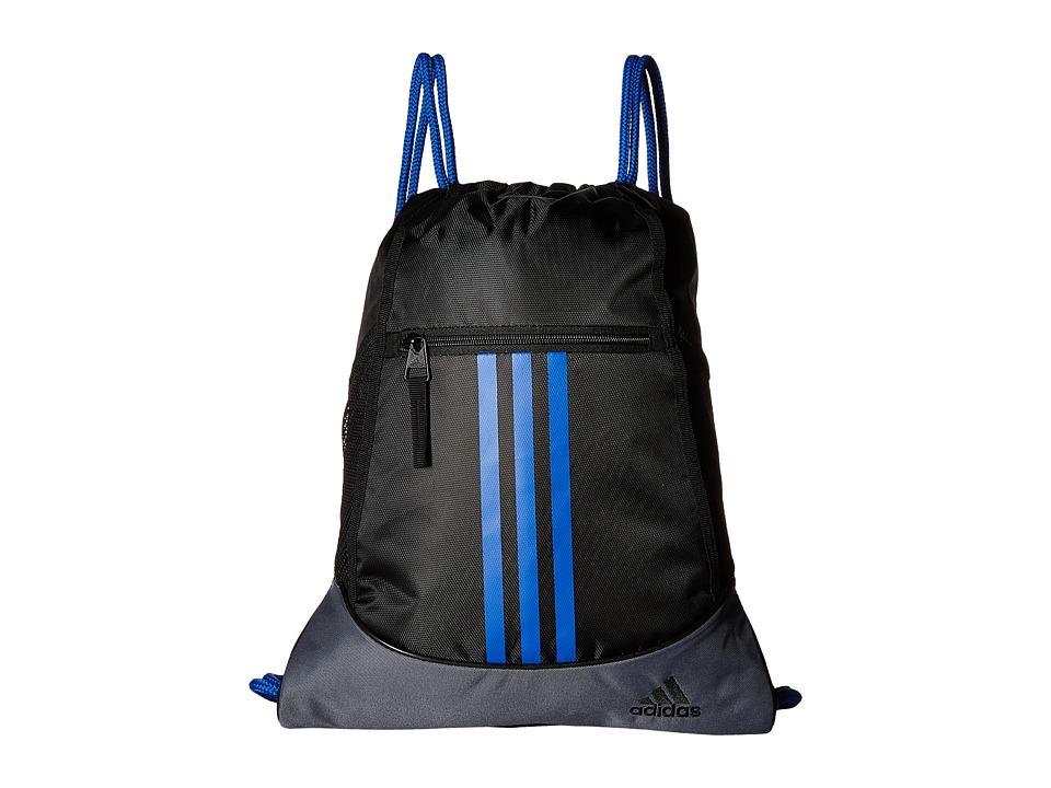 adidas - Alliance II Sackpack (Black/Onix/Blue) Bags