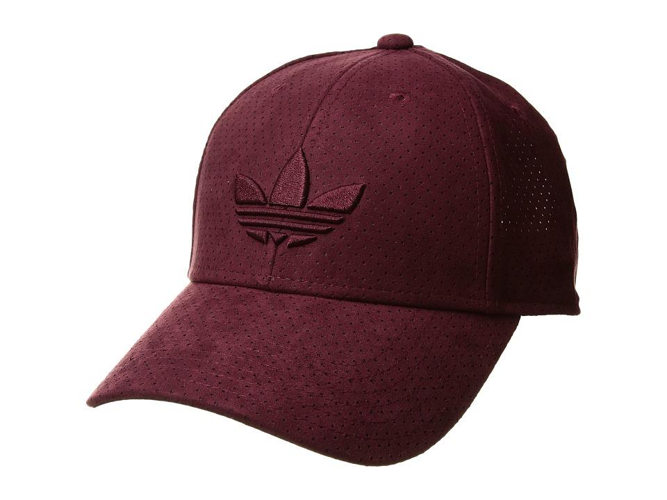 adidas - Originals Trefoil Plus Precurve (Maroon Sport Suede) Baseball Caps