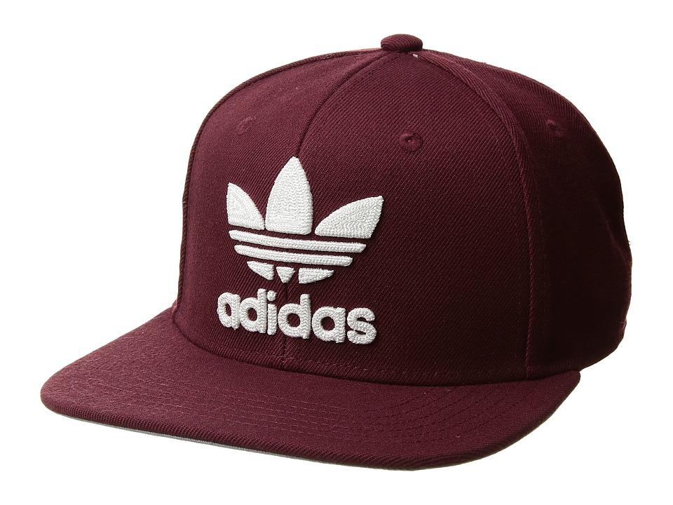 adidas - Originals Trefoil Chain Snapback (Maroon/White) Baseball Caps