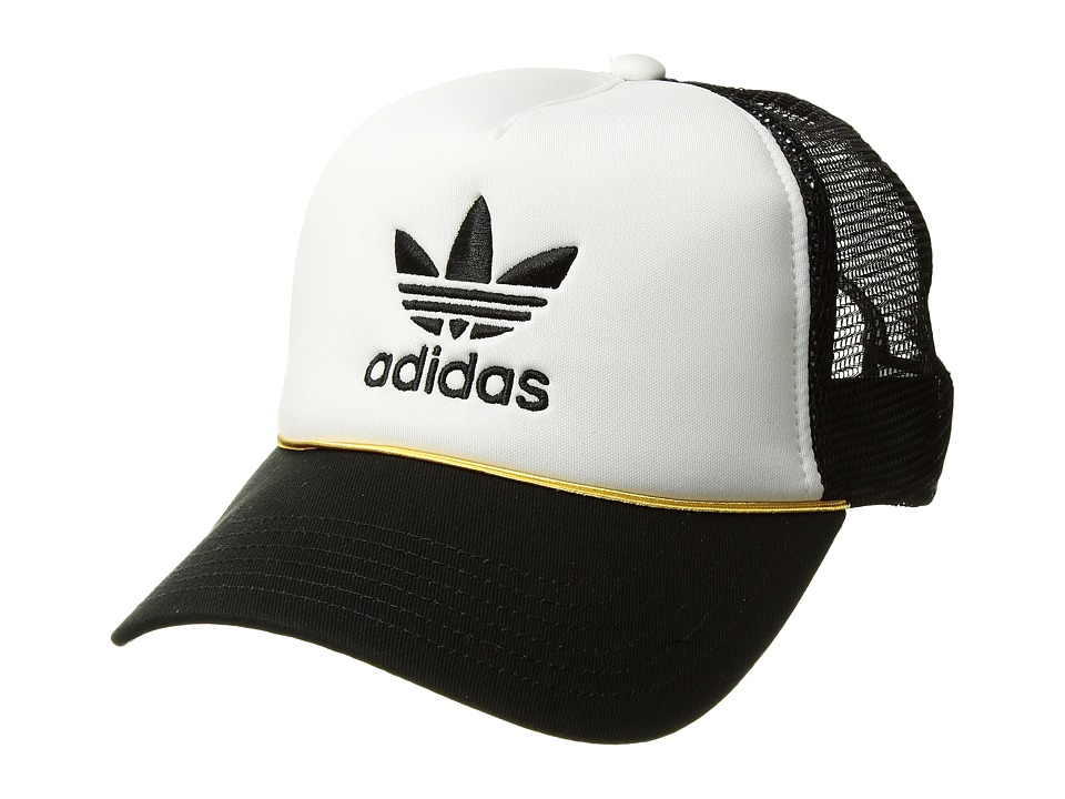 adidas - Originals Trefoil Mesh Snapback (White/Black/Gold) Baseball Caps