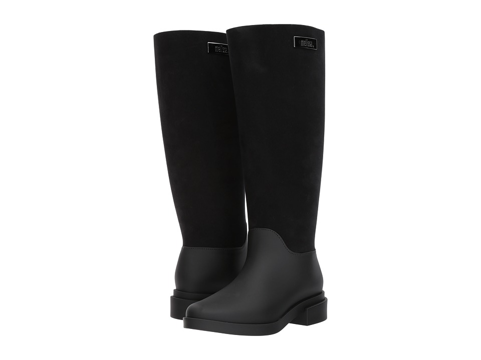 Melissa Shoes - Long Boot Flocked (Black Flocked) Women's Shoes