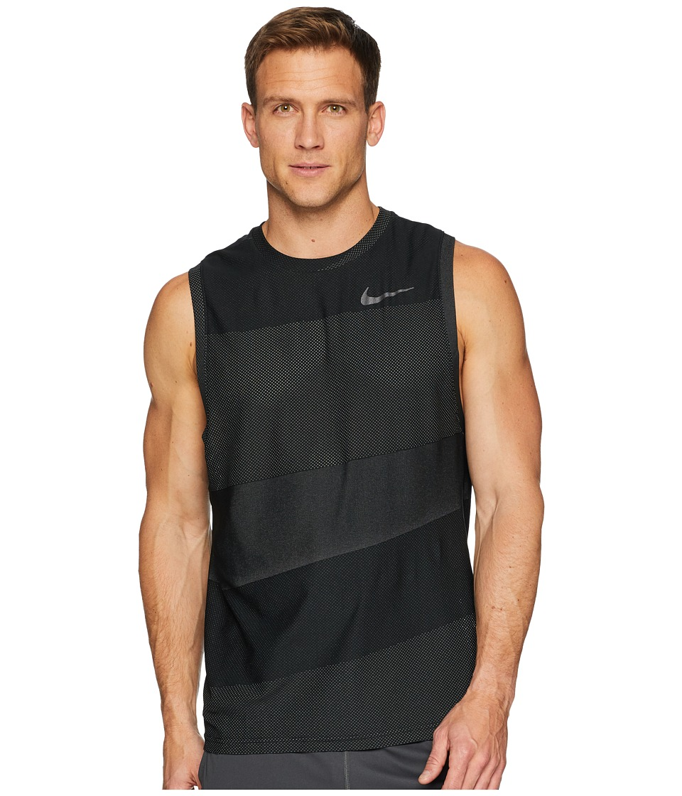 Nike Breathe Tank Top Hyper Vent (Black/White/Metallic Hematite) Men
