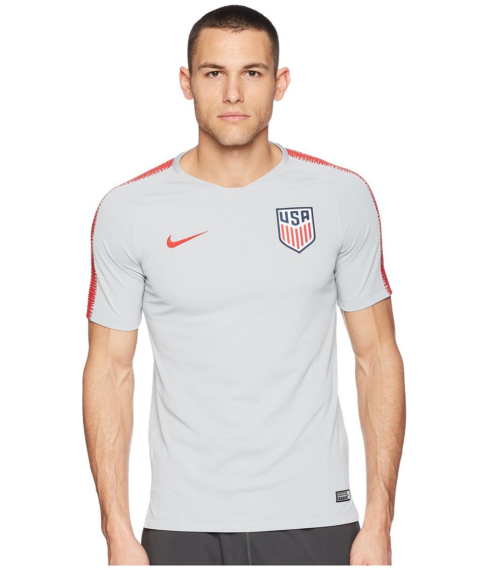 Nike USA Breathe Squad Top Short Sleeve (Wolf Grey/University Red/University Red) Men
