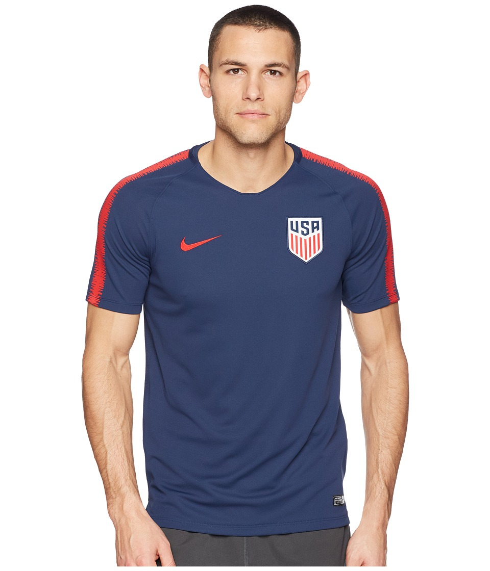 Nike USA Breathe Squad Top Short Sleeve (Midnight Navy/University Red) Men
