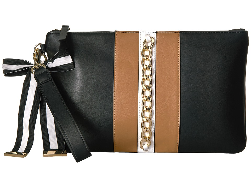 Nine West - Table Treasure - Large Wristlet Pouch (Black/Dark Camel/Milk) Handbags