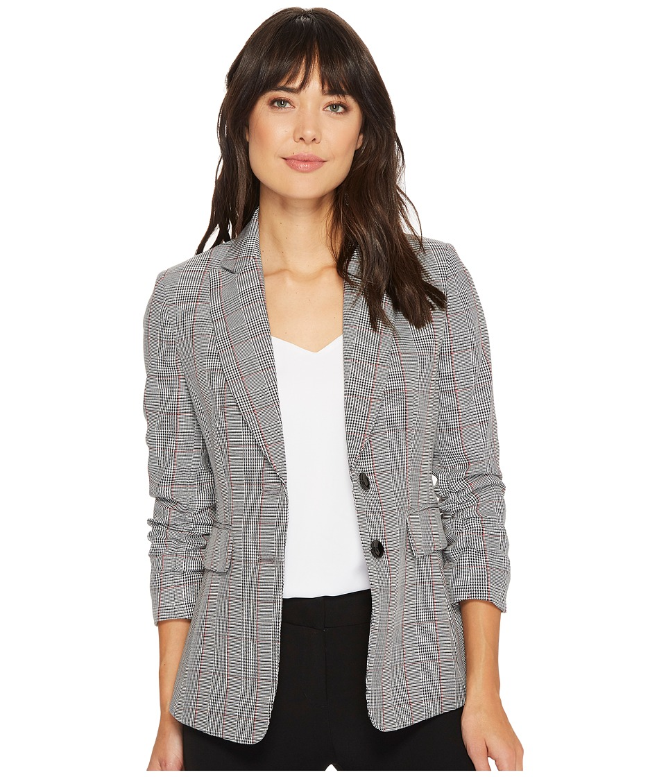 Tahari by ASL - Plaid Scrunch Sleeve Two-Button Jacket (Black/White/Red) Women's Coat