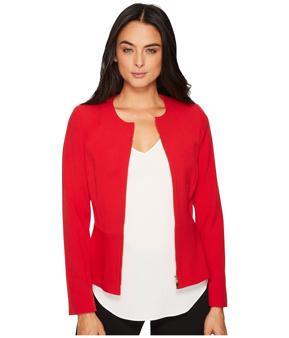 Tahari by ASL - Zip Front Long Sleeve Jacket w/ Peplum (Crimson Red) Women's Coat