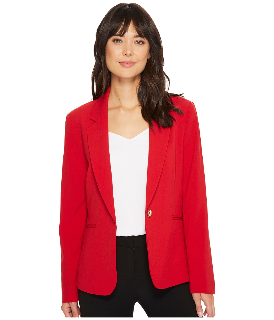 Tahari by ASL - One-Button Notch Collar Jacket (Crimson Red) Women's Coat