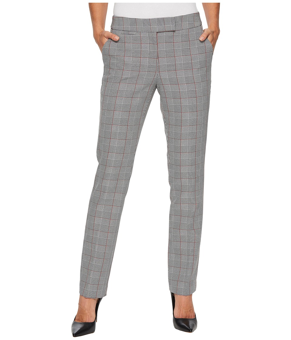 Tahari by ASL - Plaid Straight Leg Pants (Black/White/Red) Women's Clothing