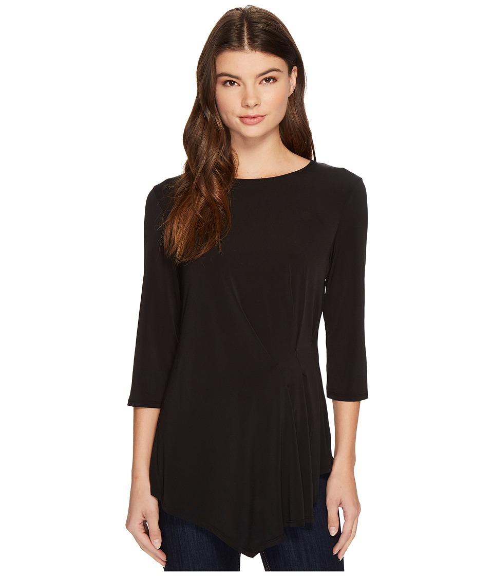London Times - Asymmetrical Side Drape 3/4 Sleeve (Black) Women's Dress