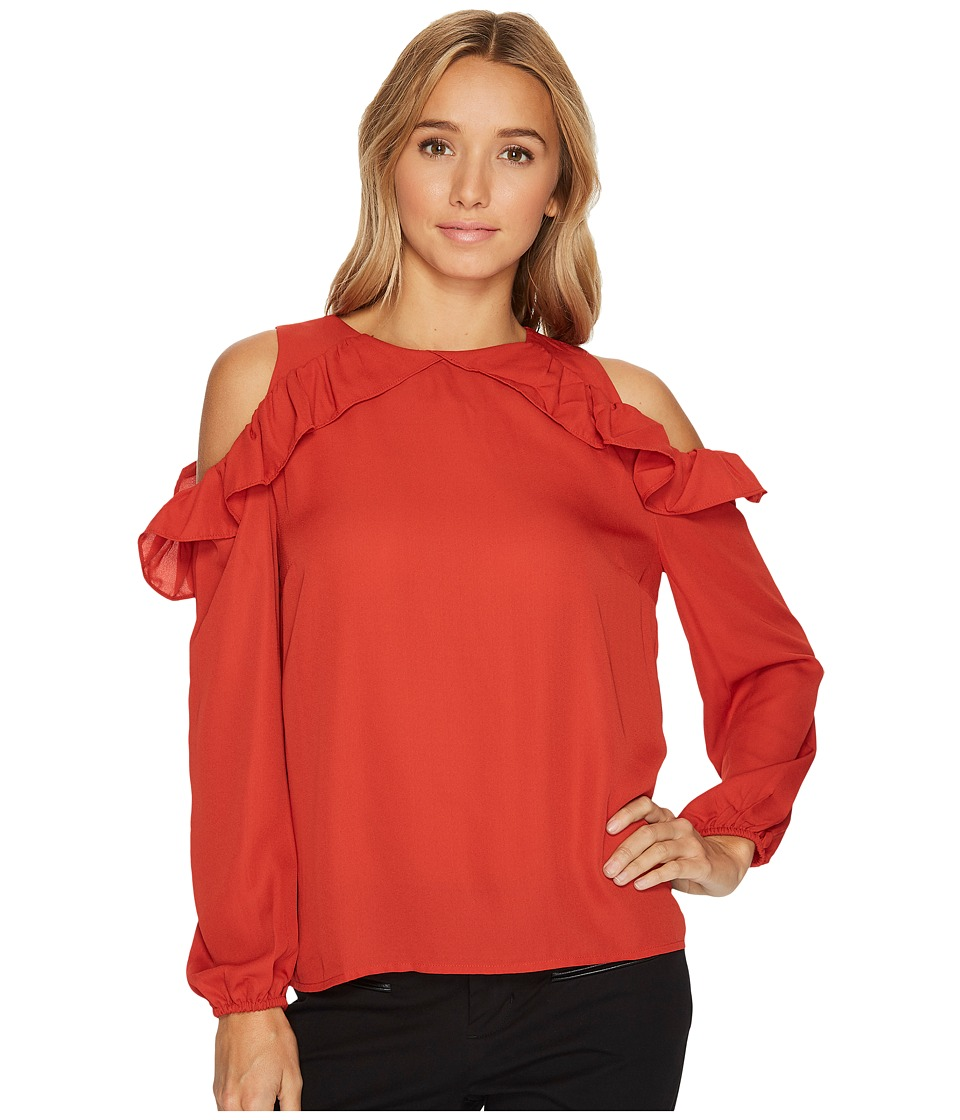London Times - Ruffle Cold Shoulder Top (Brick) Women's Dress