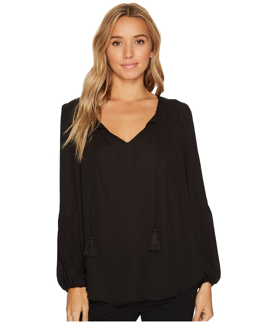 London Times - Tie Tassle Peasant Top (Black) Women's Dress