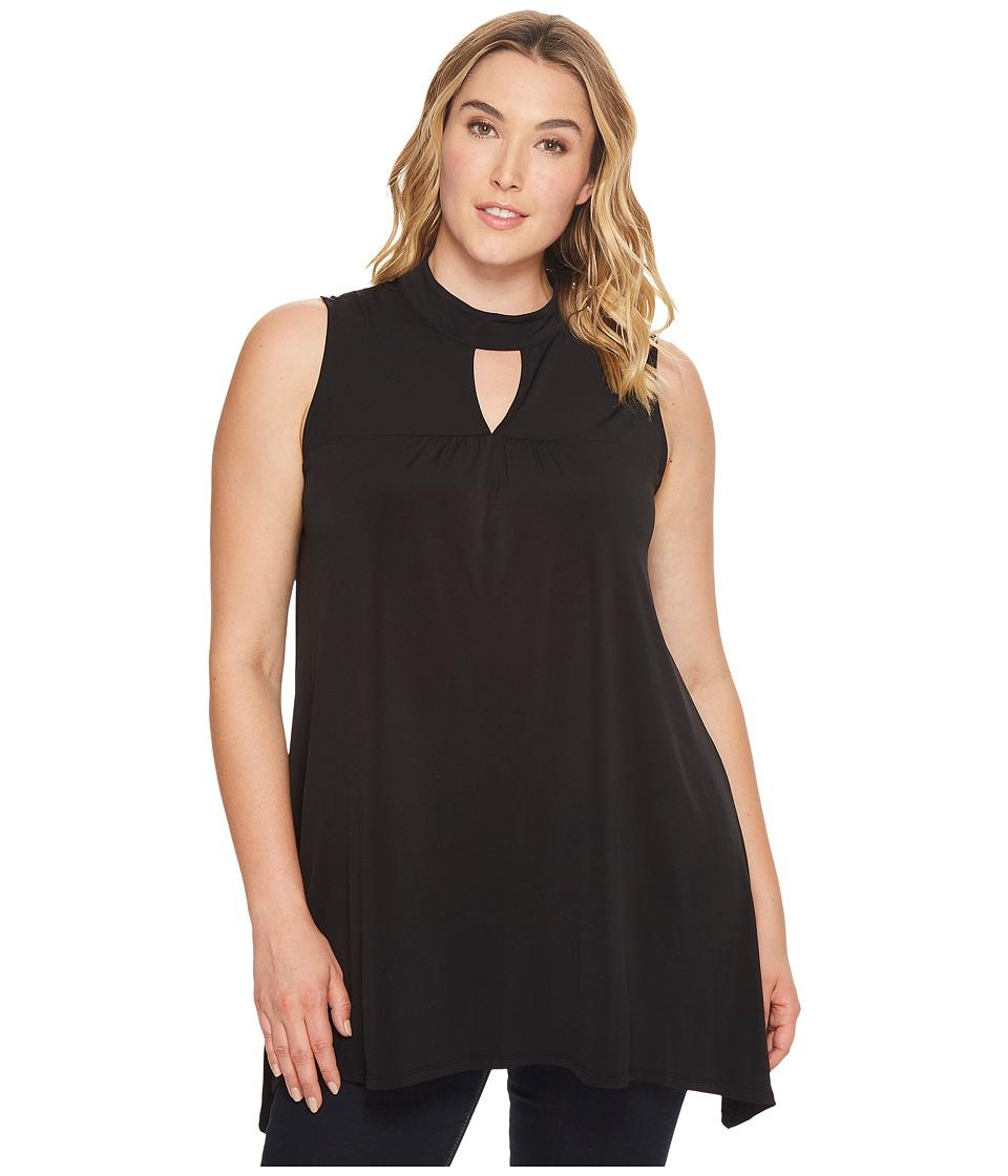 London Times - Plus Size Gigi Neck Tunic (Black) Women's Dress