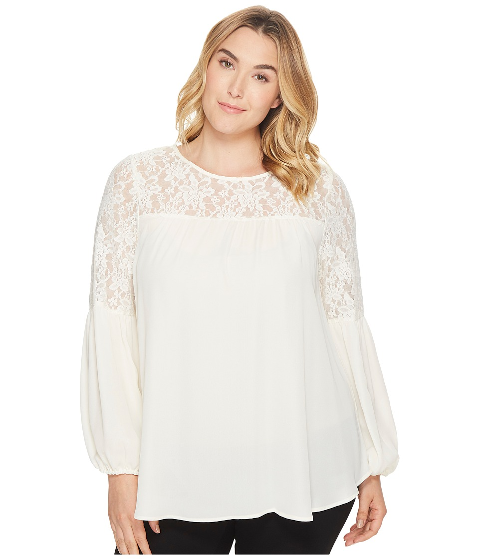 London Times - Plus Size Georgette Lace Lantern Sleeve (Cream) Women's Blouse