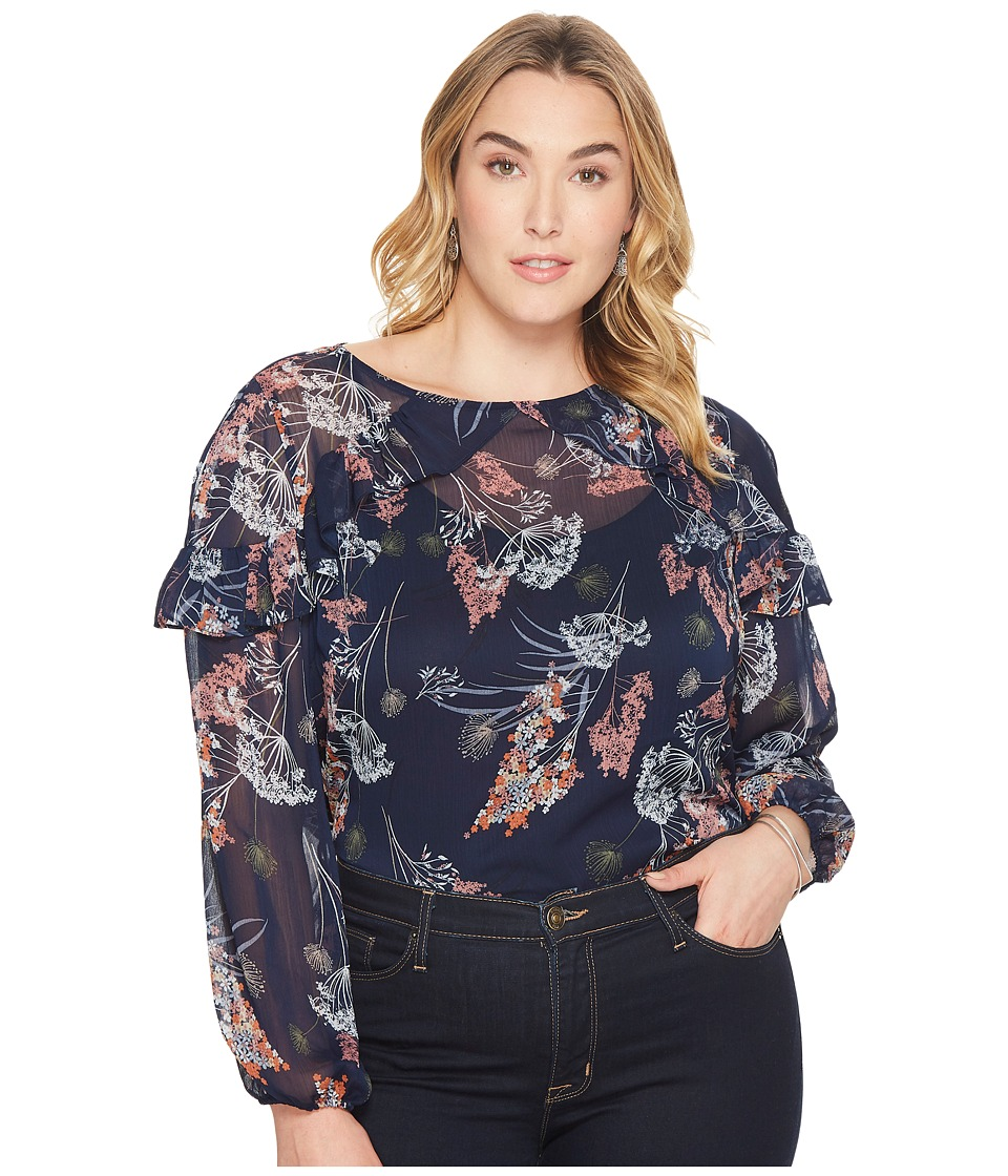 London Times Plus Size Ruffle Cold Shoulder Top (Navy/Multi) Women