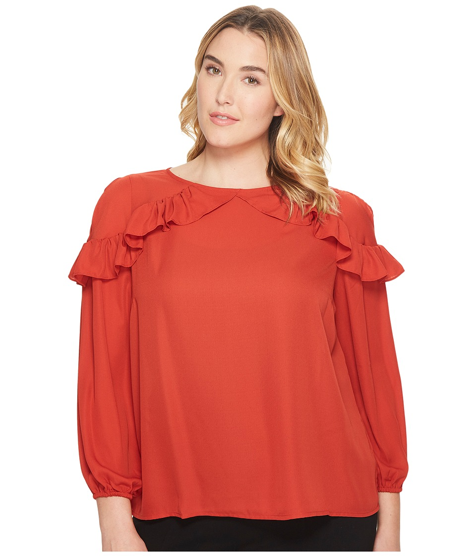 London Times - Plus Size Ruffle Cold Shoulder Top (Brick) Women's Dress
