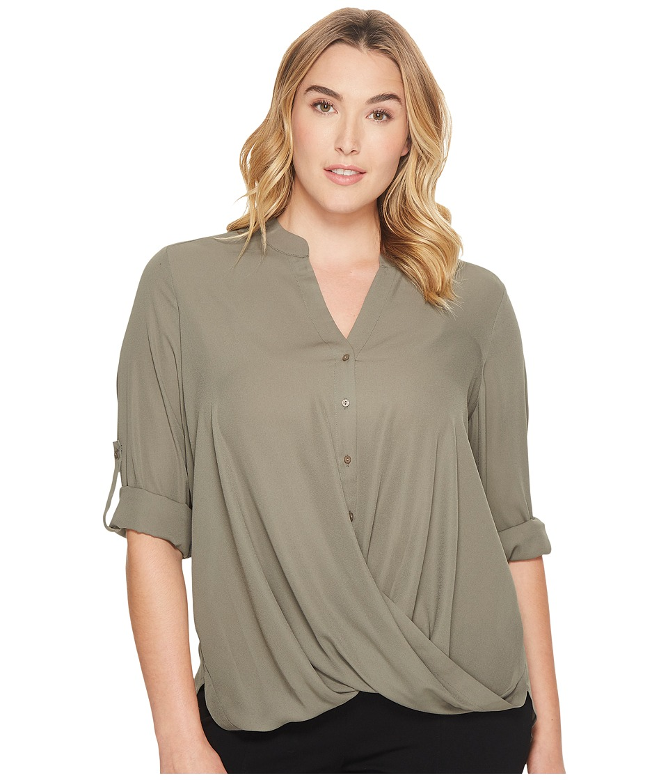 London Times - Plus Size Wrap Front Blouse (Olive) Women's Blouse
