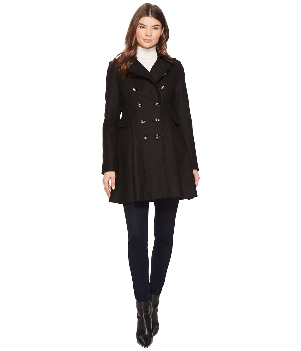 Via Spiga - Double Breasted Wool Skating Coat (Black) Women's Coat