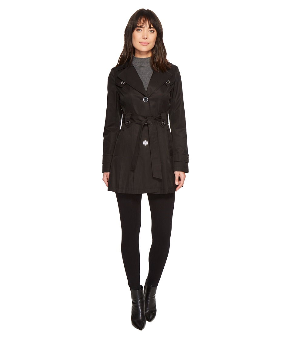 Via Spiga - Single Breasted Belted Coat (Black 1) Women's Coat