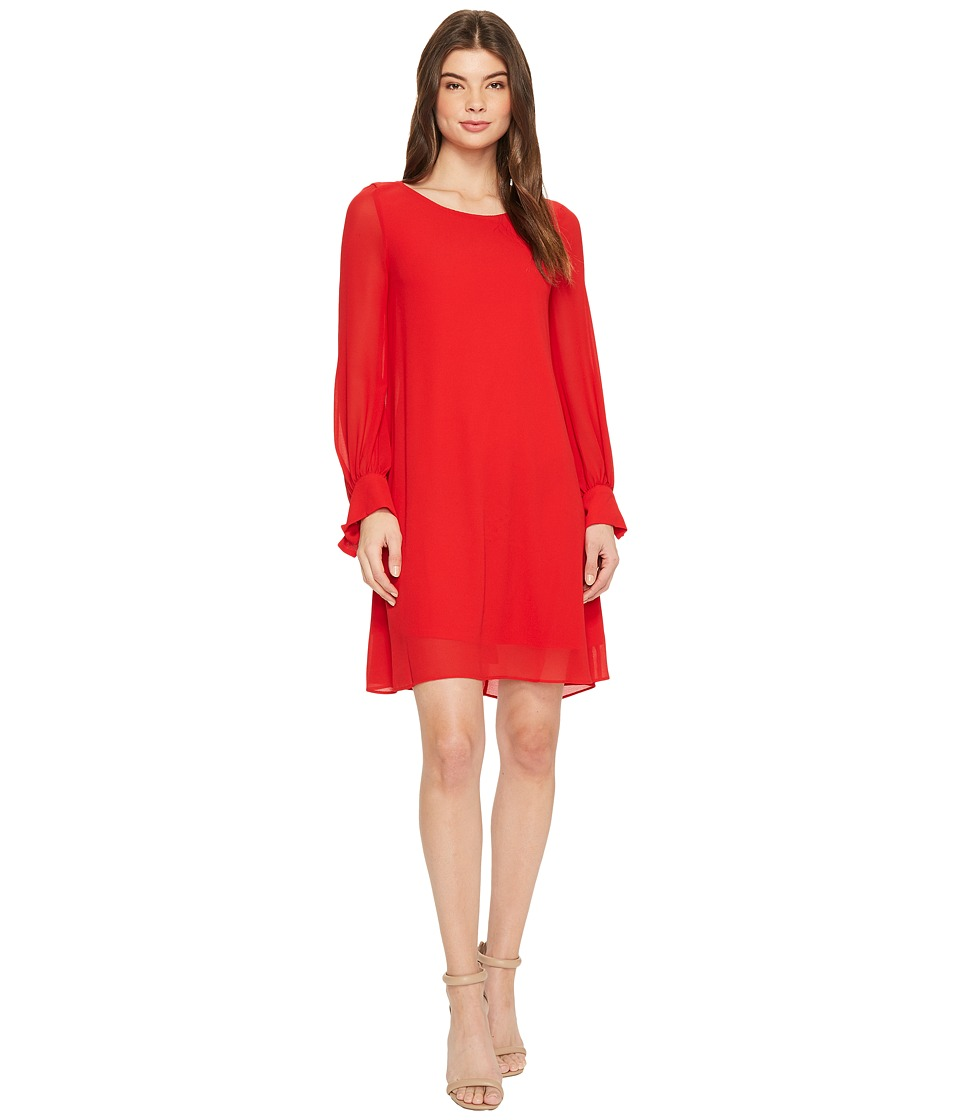 Taylor Crepe Shift Dress w/ Chiffon Sleeves (Crimson) Women