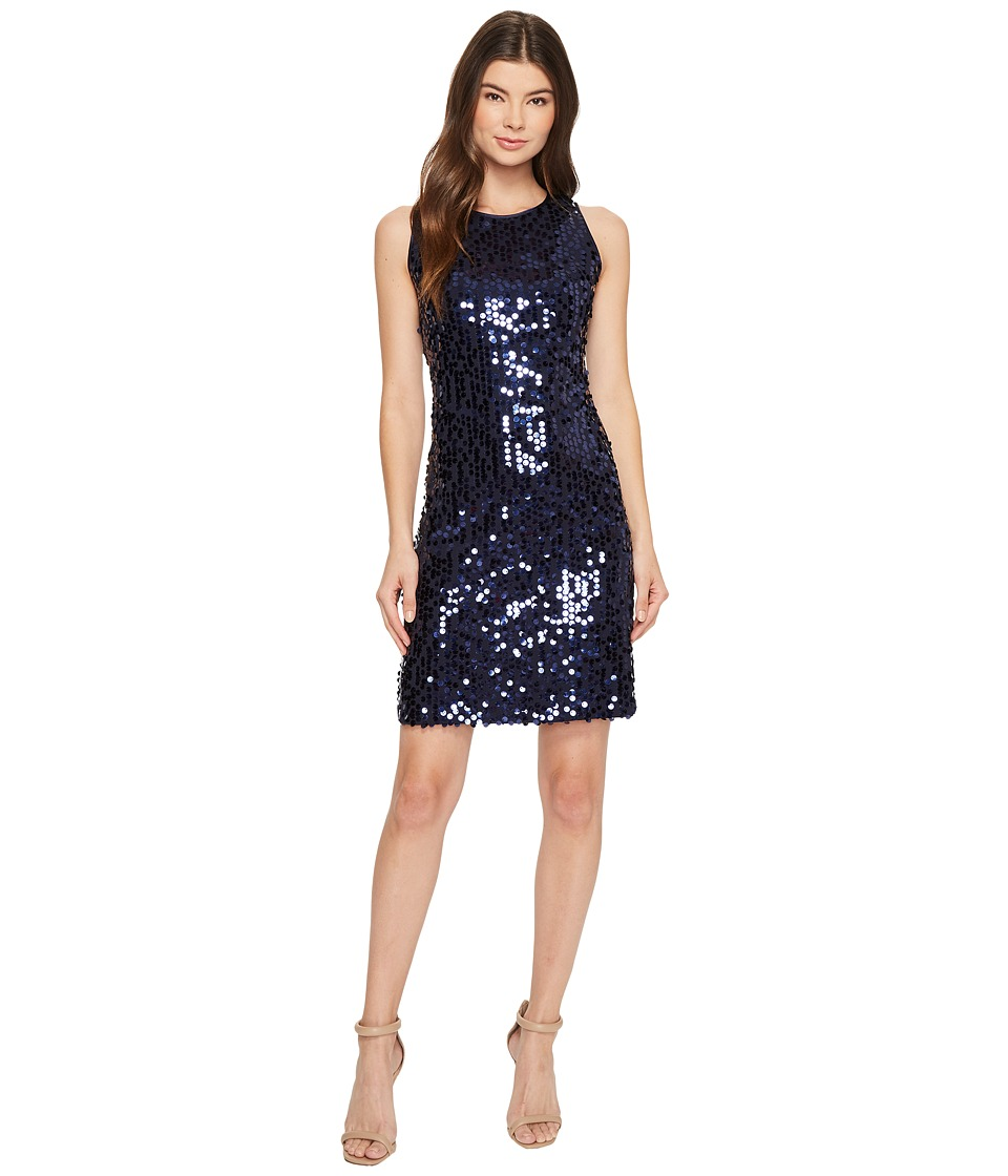 Taylor All Over Sequins Sheath Dress (Navy) Women