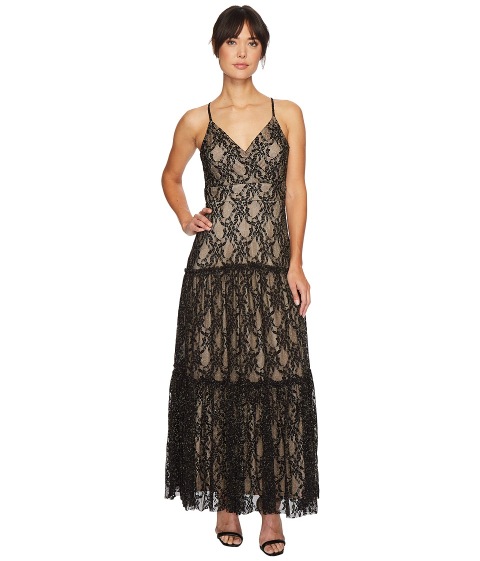 Taylor Metallic Lace Maxi Dress (Black/Nude) Women