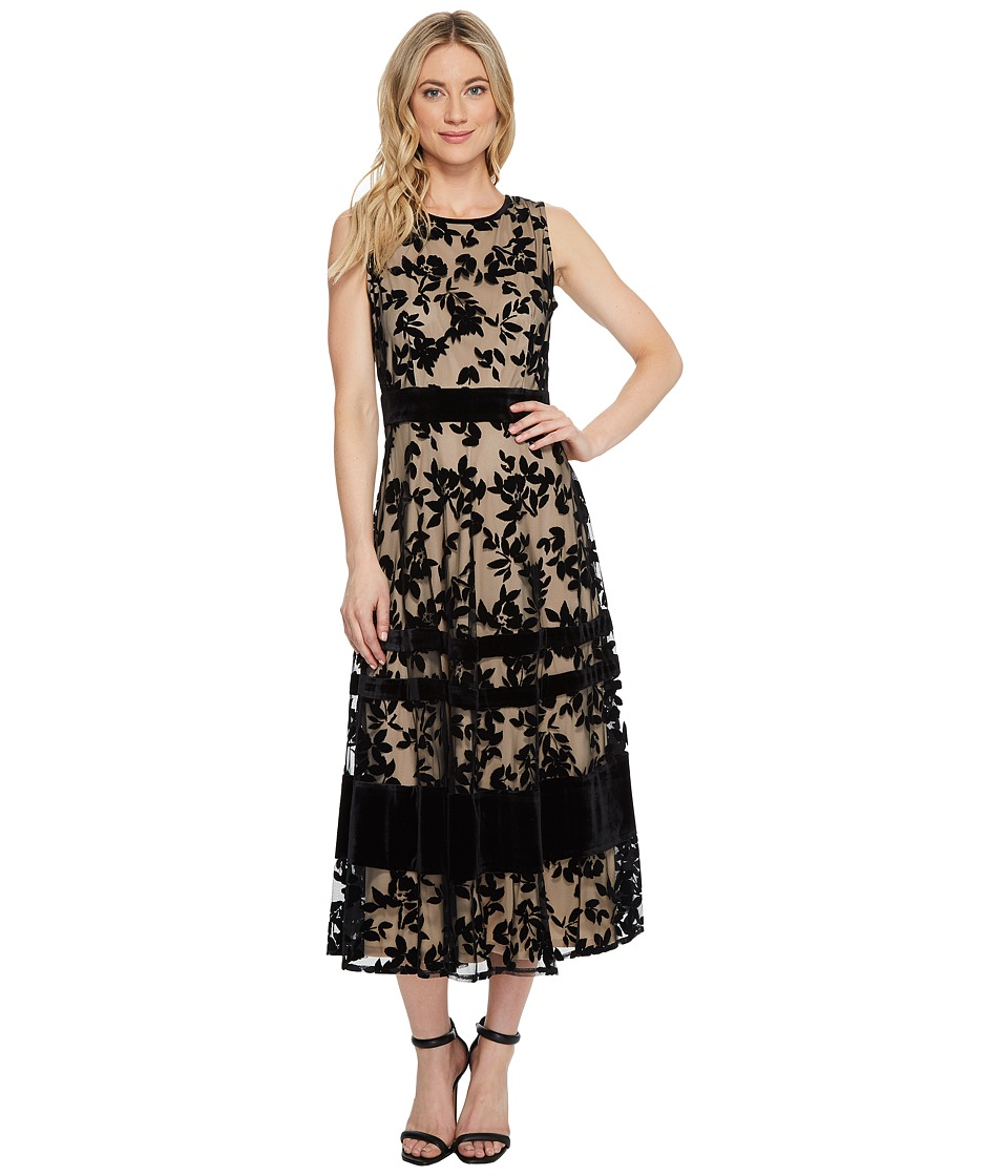 Taylor - Burnout Velvet Midi Dress (Black/Nude) Women's Dress