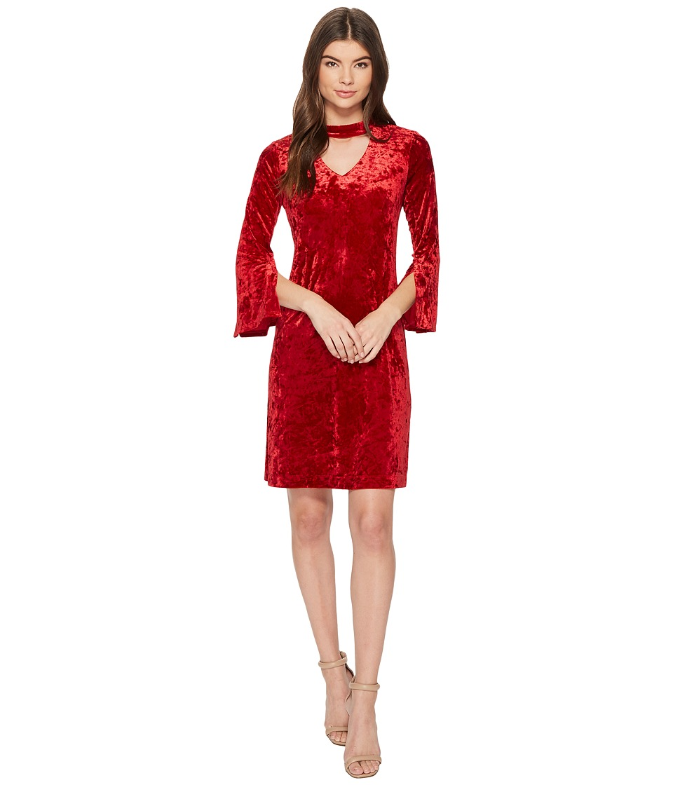 Taylor - Cut Out Crushed Velvet Shift Dress (Red) Women's Dress