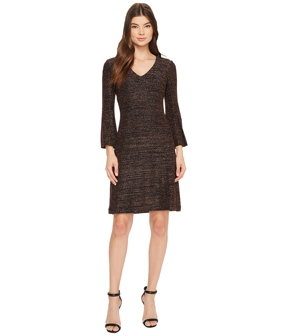 Taylor Bell Sleeve Metallic Shift Dress (Bronze) Women