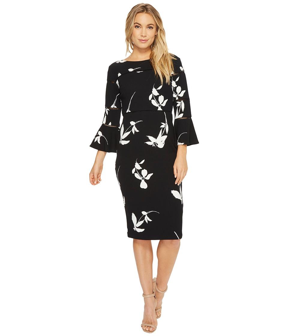 Taylor - Floral Bell Sleeve Sheath Dress (Black/Ivory) Women's Dress