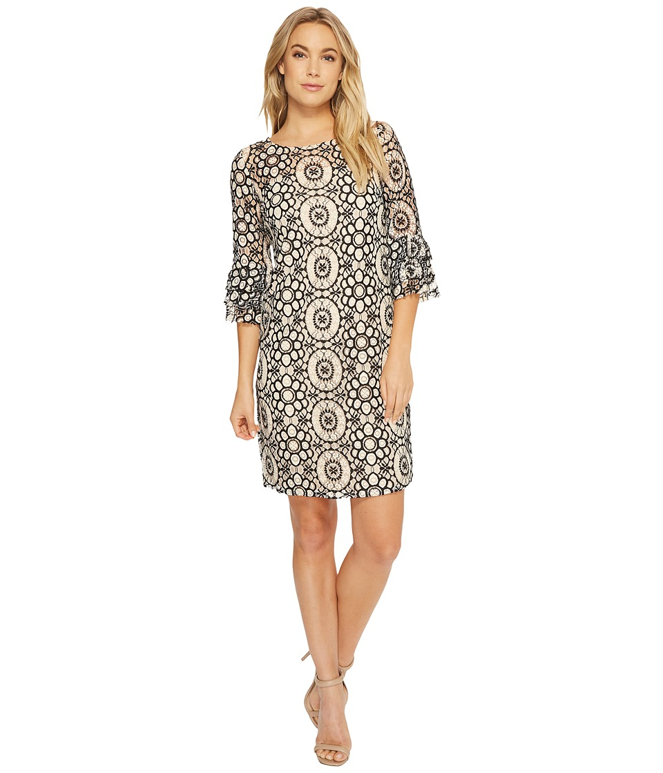 Taylor Lace Shift Dress w/ Bell Sleeves (Cream/Black) Women