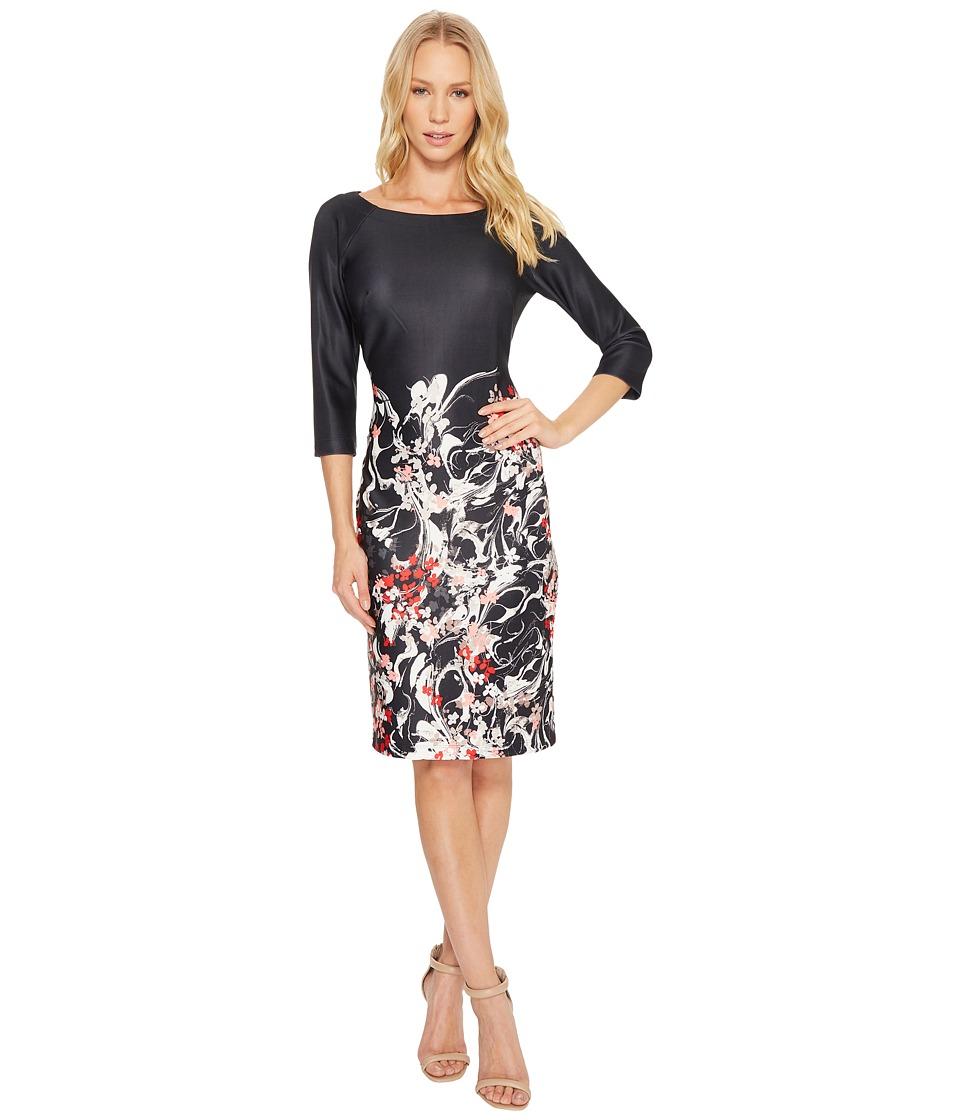 Taylor Floral Scuba Midi Dress (Black/Red Coral) Women