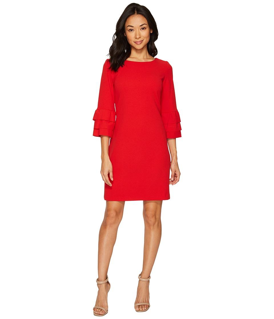 Taylor Crepe Shift Dress w/ Ruffle Sleeves (Poppy) Women