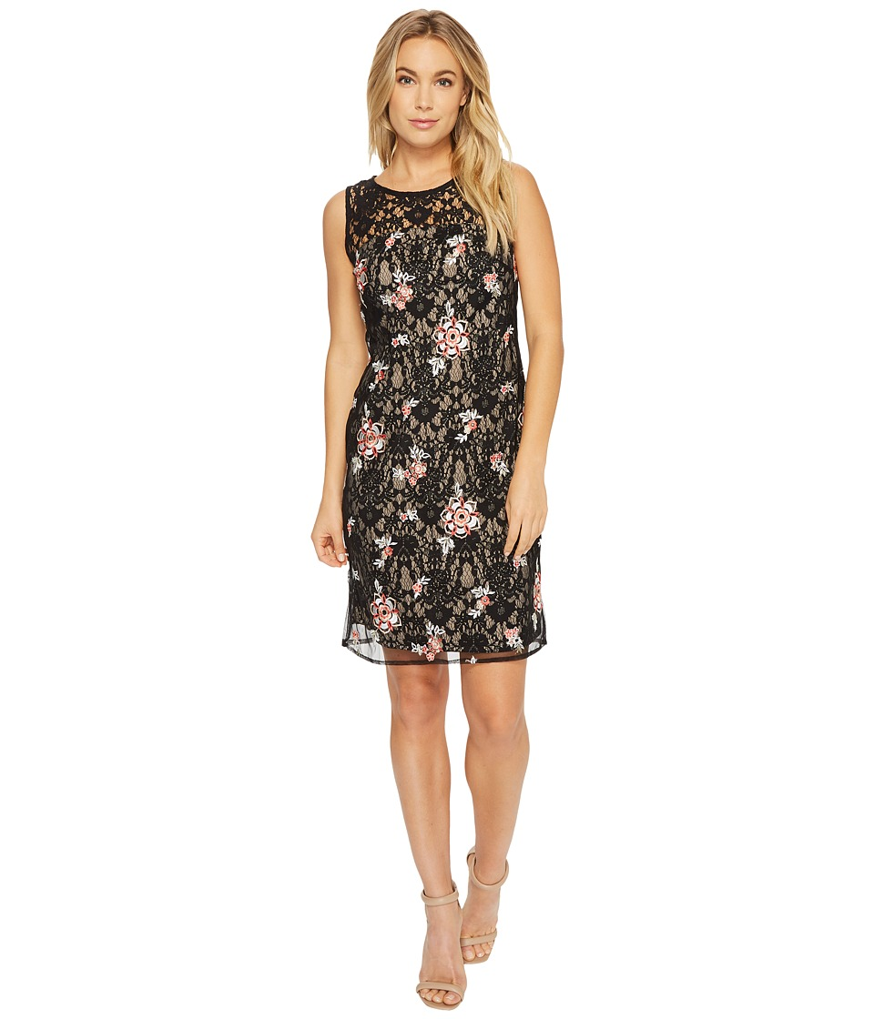 Taylor Embroidered Lace Sheath Dress (Black/Coral/Nude) Women