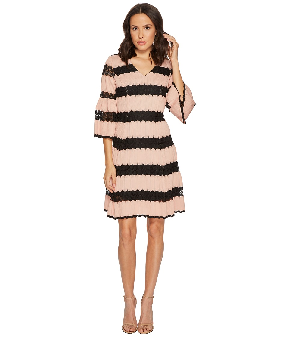 Taylor Fit and Flare Knit Jacquard Dress w/ Lace Inserts (Apricot/Black) Women