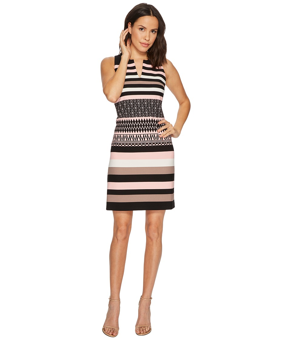 Taylor Striped Scuba A-Line Dress (Black/Blush) Women