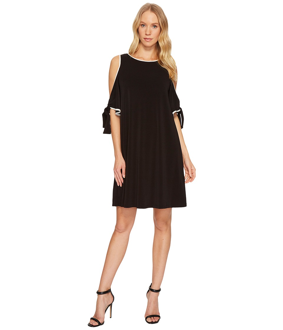 Taylor Cold-Shoulder Shift Dress w/ Chiffon Sleeves (Black/Ivory) Women