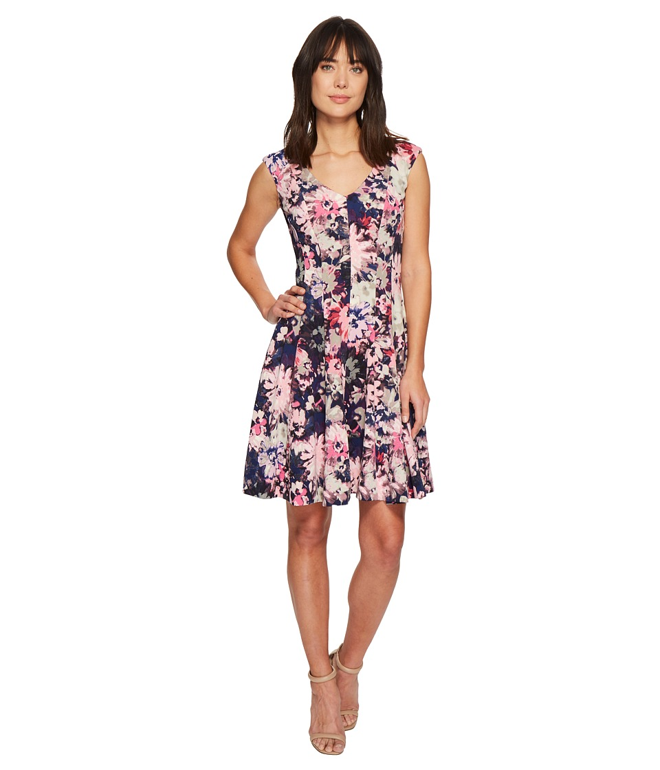 Taylor Floral Scuba Fit and Flare Dress (Navy/Orchid) Women