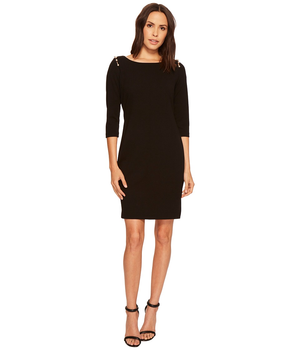 Taylor Scuba Crepe Dress w/ Pearl Buttons (Black) Women