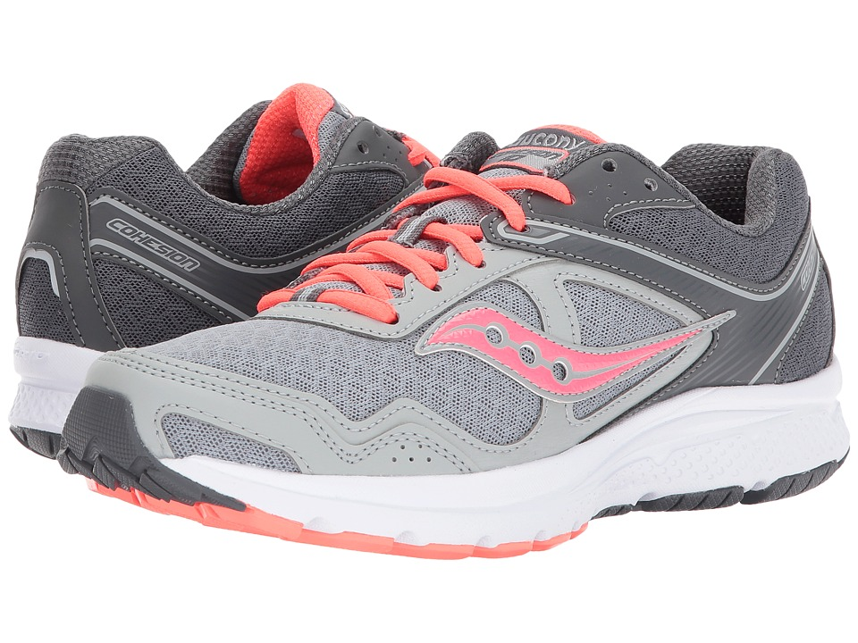 Saucony - Cohesion 10 (Grey/Coral) Women's Shoes
