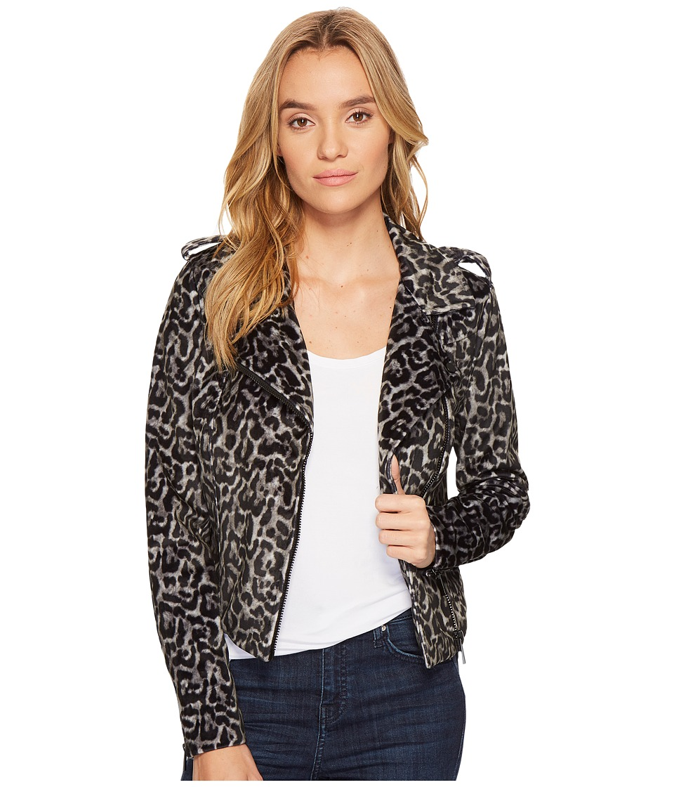 ROMEO & JULIET COUTURE - Leopard Print Moto Jacket (Black/Grey Combo) Women's Coat