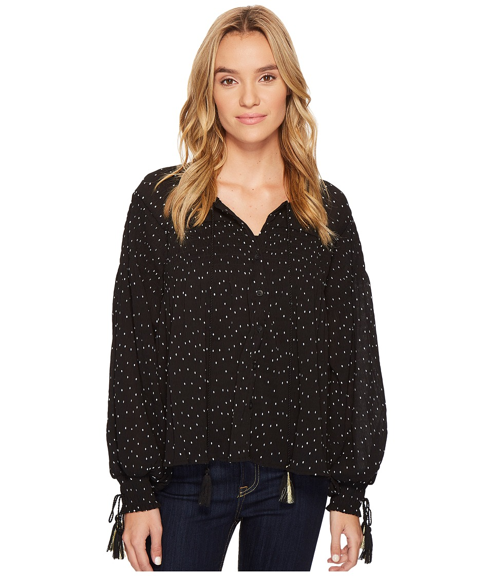 ROMEO & JULIET COUTURE - Dotted Pleated Top w/ Tassel Tie-Up Detail (Black) Women's Blouse