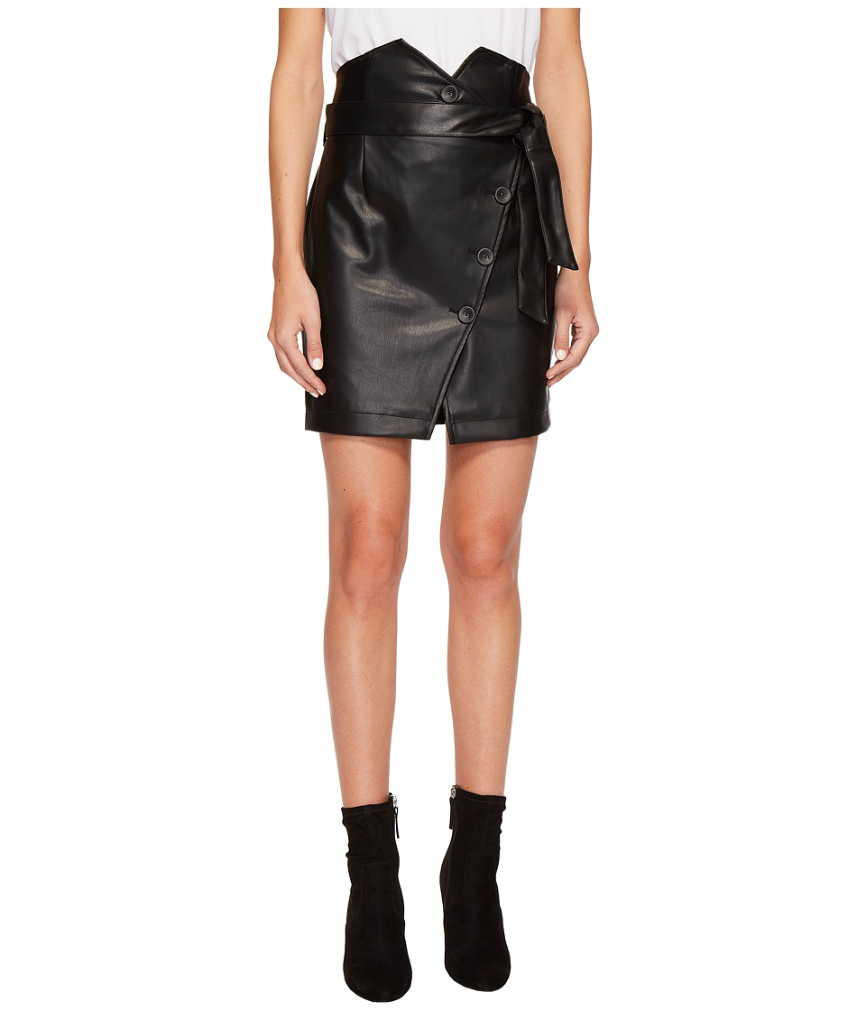 ROMEO & JULIET COUTURE - PU Skirt w/ Belt Detail (Black) Women's Skirt