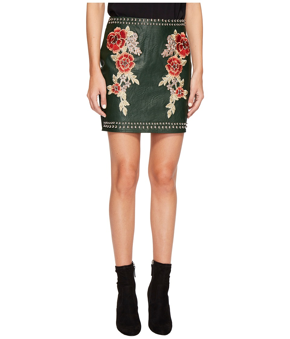 ROMEO & JULIET COUTURE - Studded Embroidered PU Mini Skirt (Ink Green) Women's Skirt