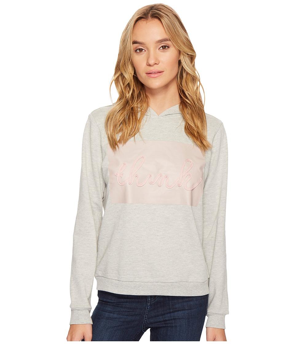 ROMEO & JULIET COUTURE - Think Motif Hoodie (Heather Grey) Women's Sweatshirt