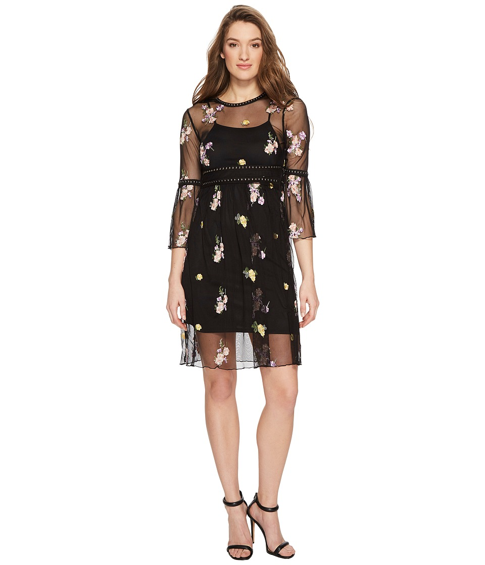 ROMEO & JULIET COUTURE Mesh and Embroidery Bell Sleeve Dress (Black) Women