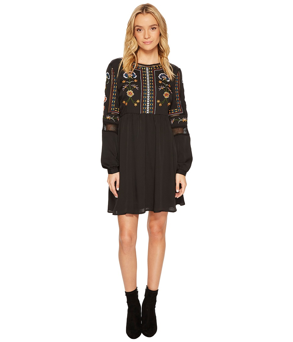 ROMEO & JULIET COUTURE Embroidered Long Sleeve Dress (Black) Women