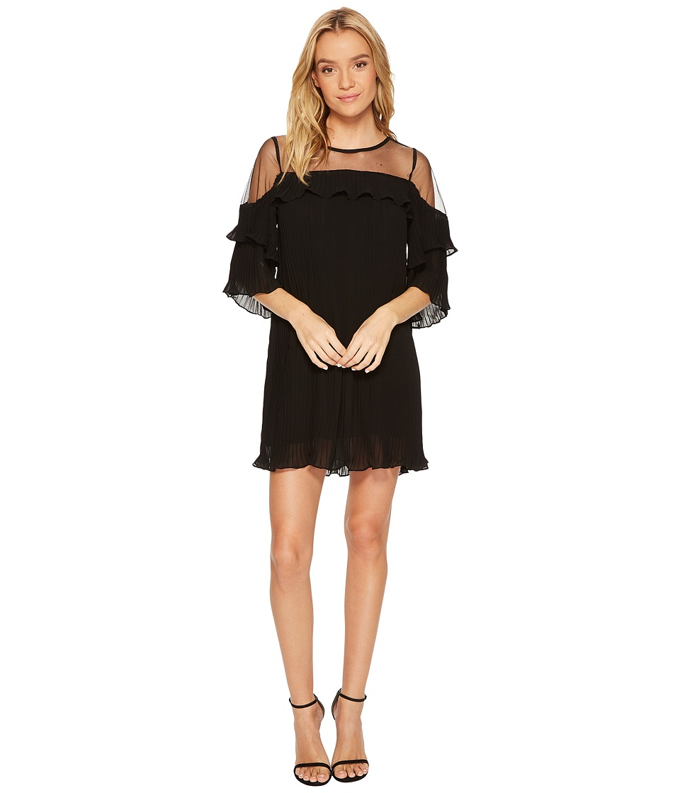 ROMEO & JULIET COUTURE Sheer Detail Pleated Dress (Black) Women