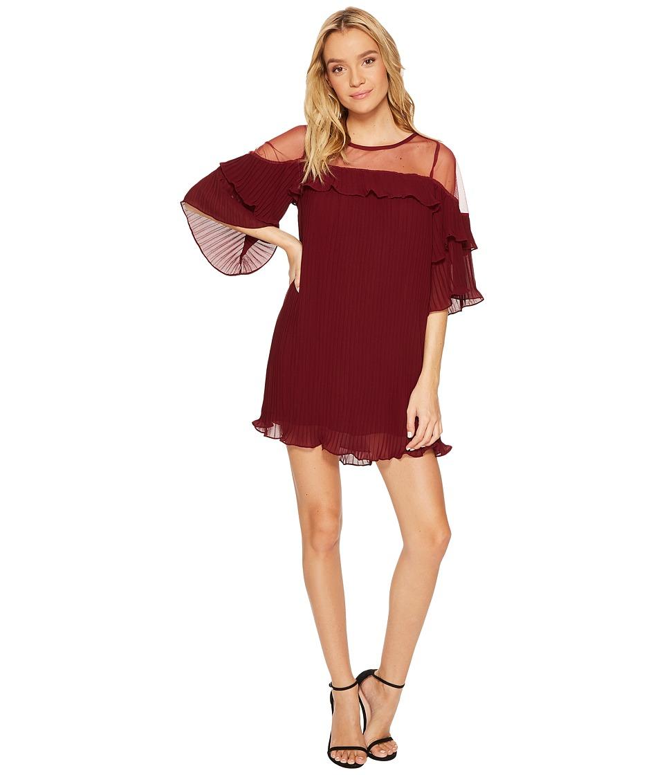 ROMEO & JULIET COUTURE Sheer Detail Pleated Dress (Burgundy) Women