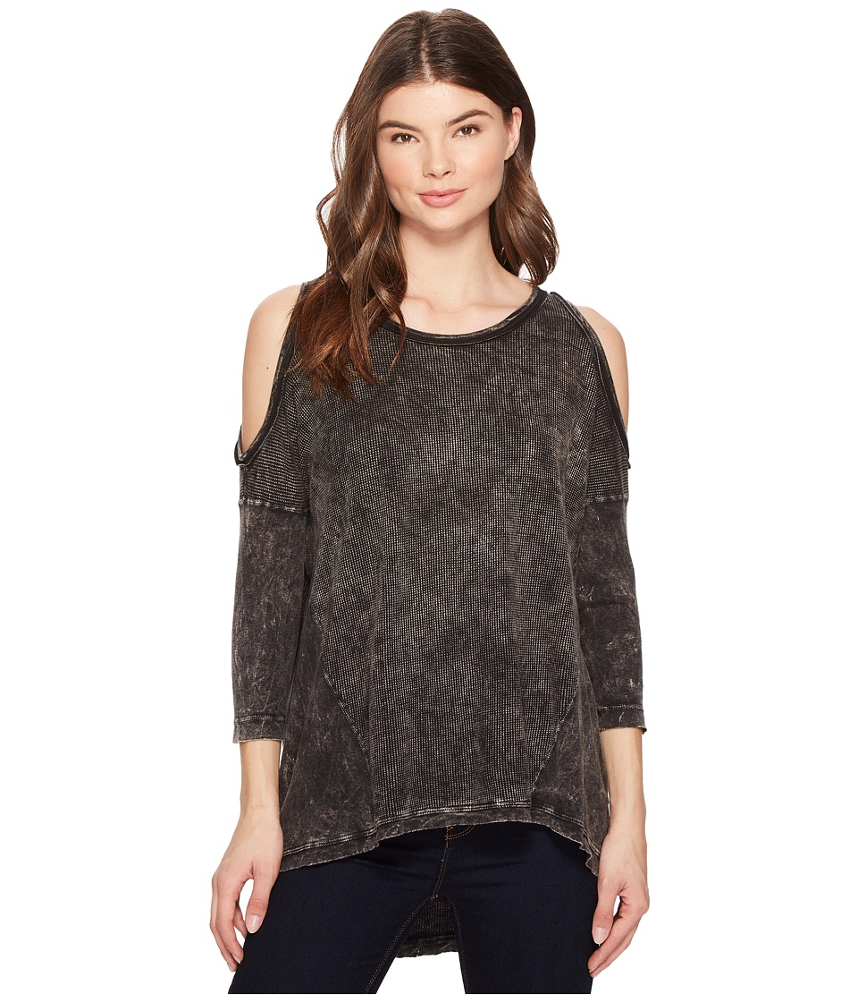 Three Dots Thermal High-Low Cold Shoulder (Black) Women